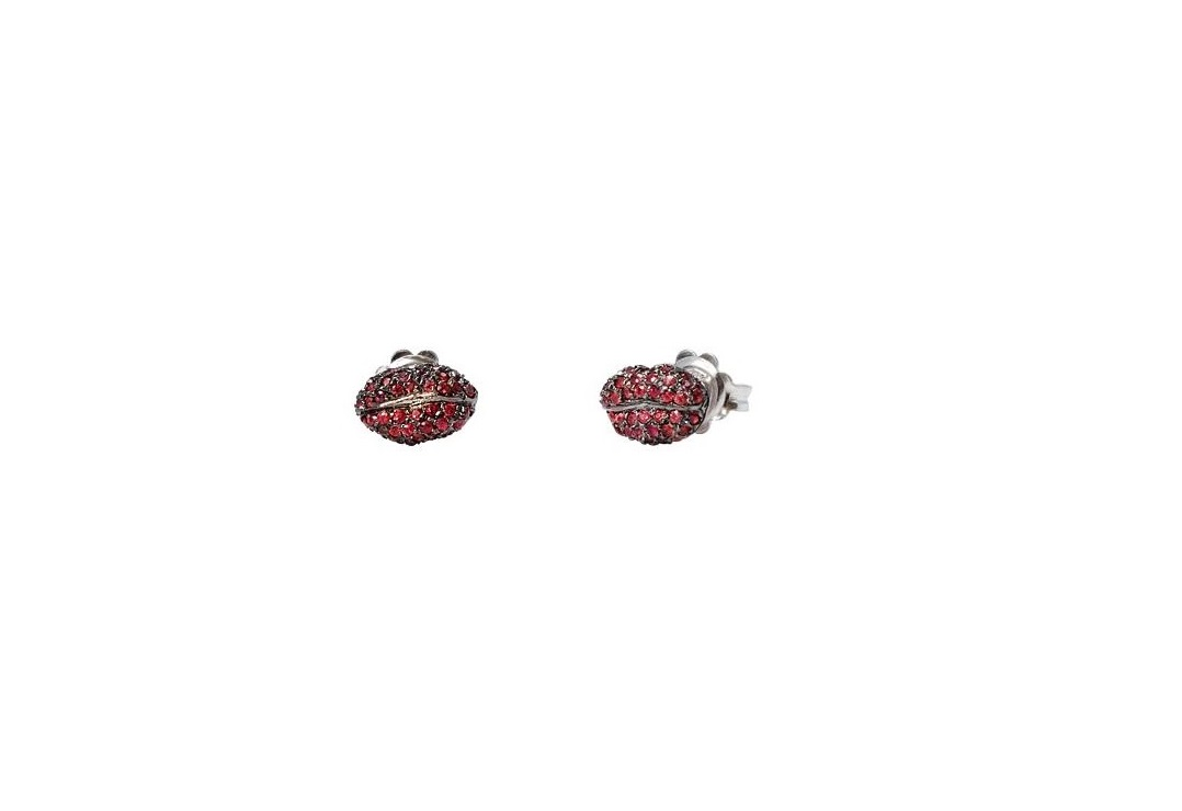 Mini lips gold earring with red sapphires