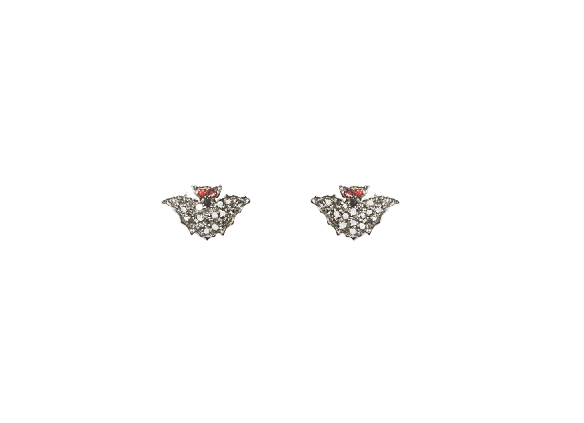 Mini bat gold earrings with pavé grey diamonds and red sapphires