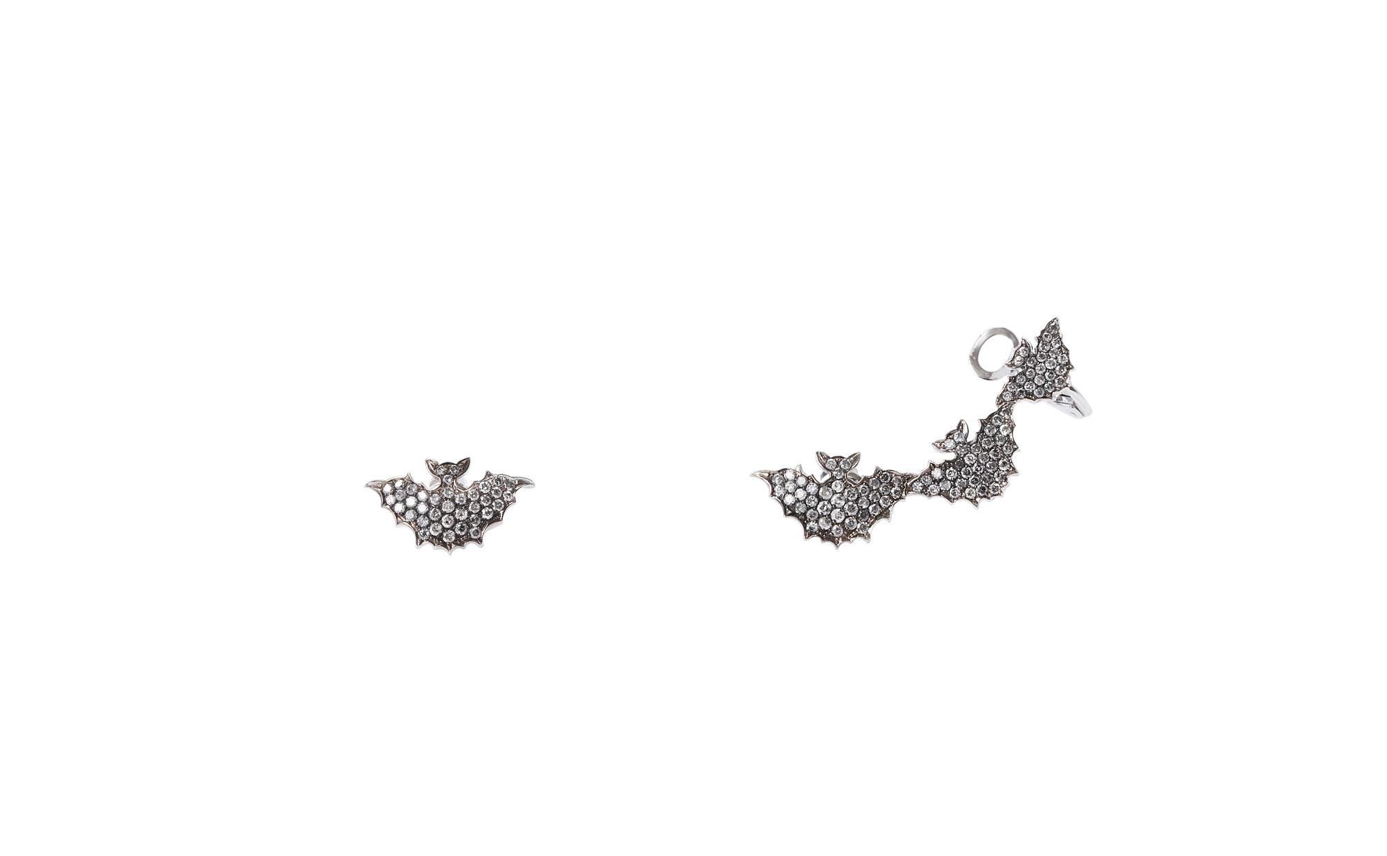 3 + 1 bats gold earrings with pavé grey diamonds