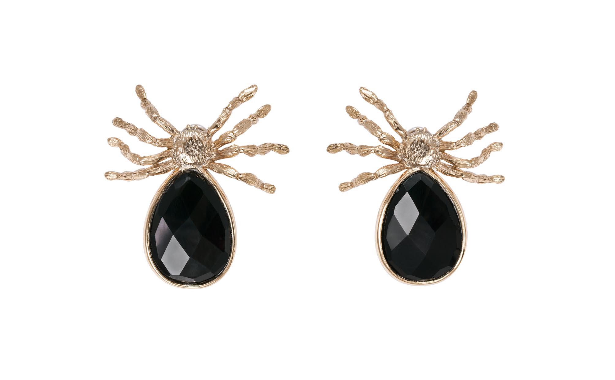 Giant spider earrrings with onyx