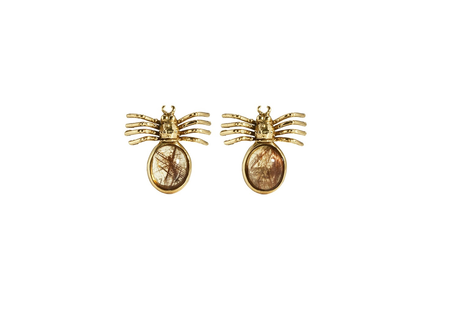 Spider bronze earrings with oval rutil quartz
