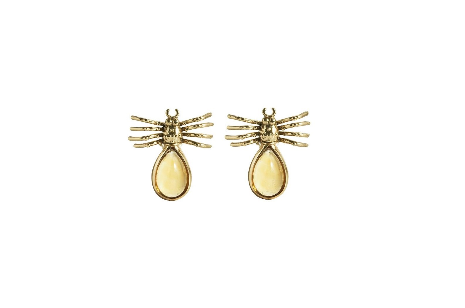Spider bronze earrings with drop citrine