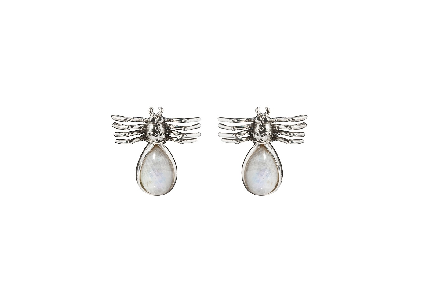 Spider silver earrings with drop labradorite