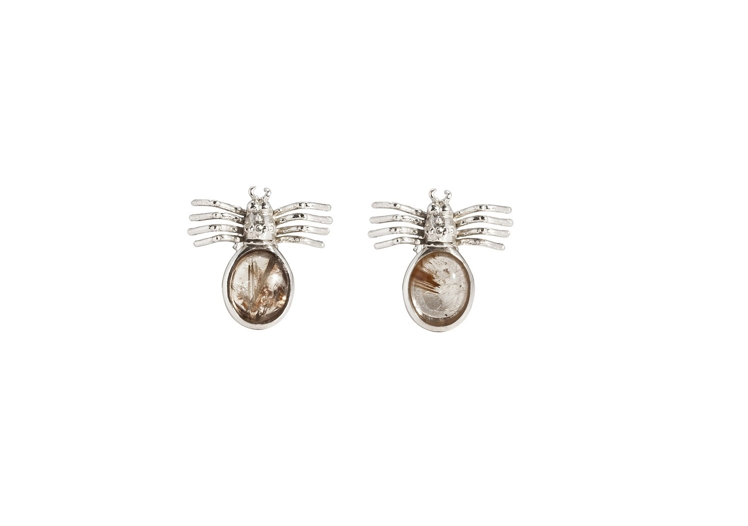 Spider silver earrings with oval rutil quartz