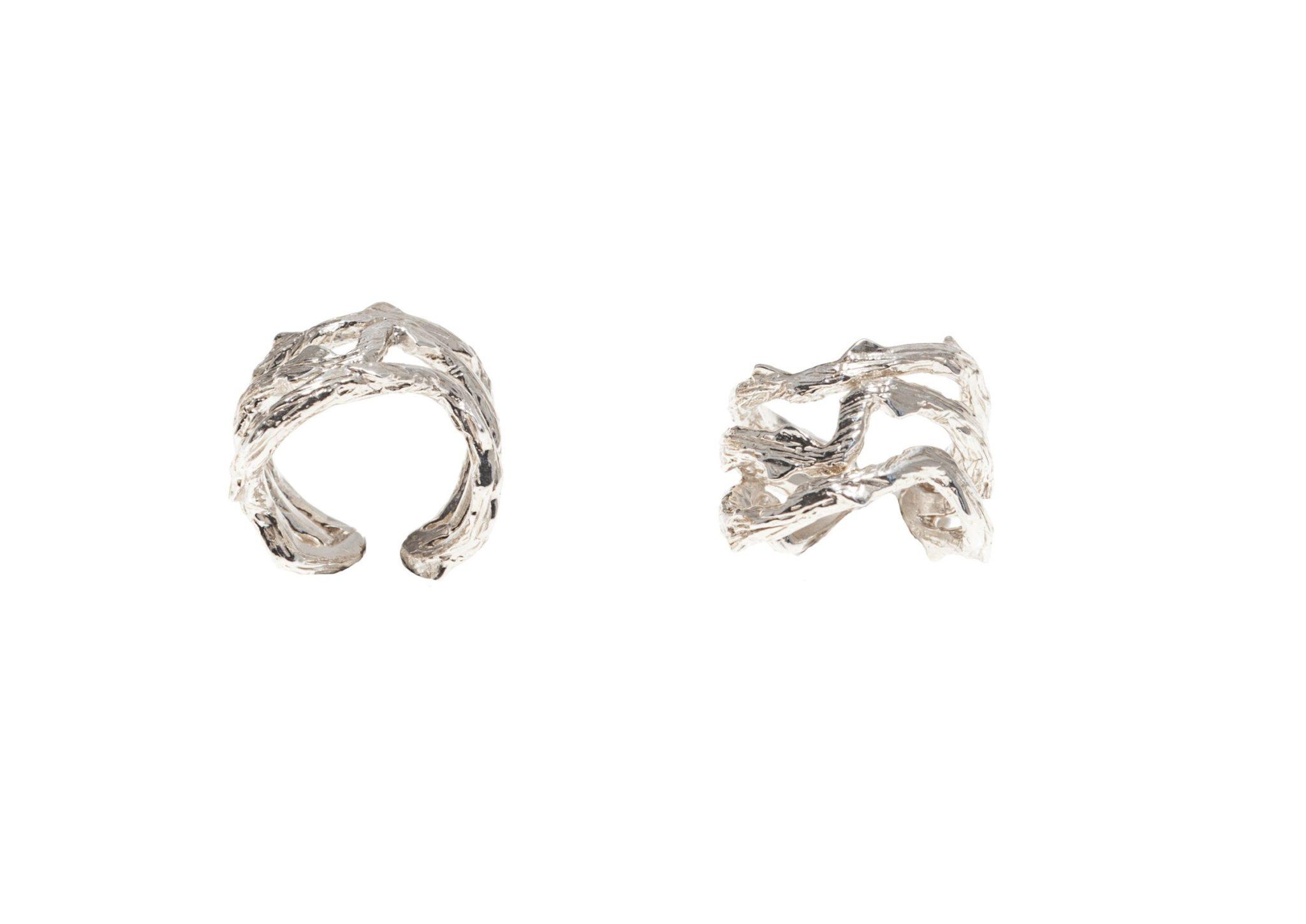 Thorny branch flat silver ring