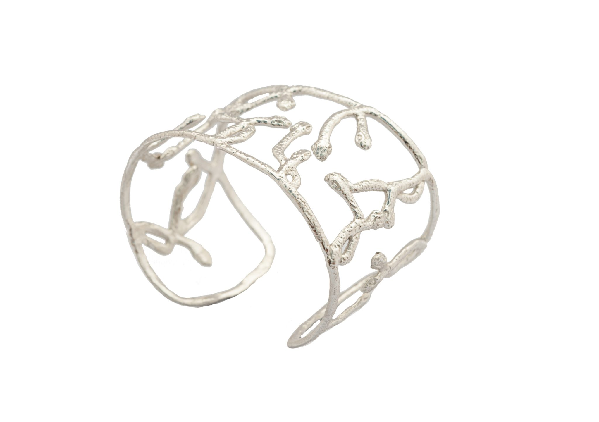 Silver cuff bracelets with criss cross snakes