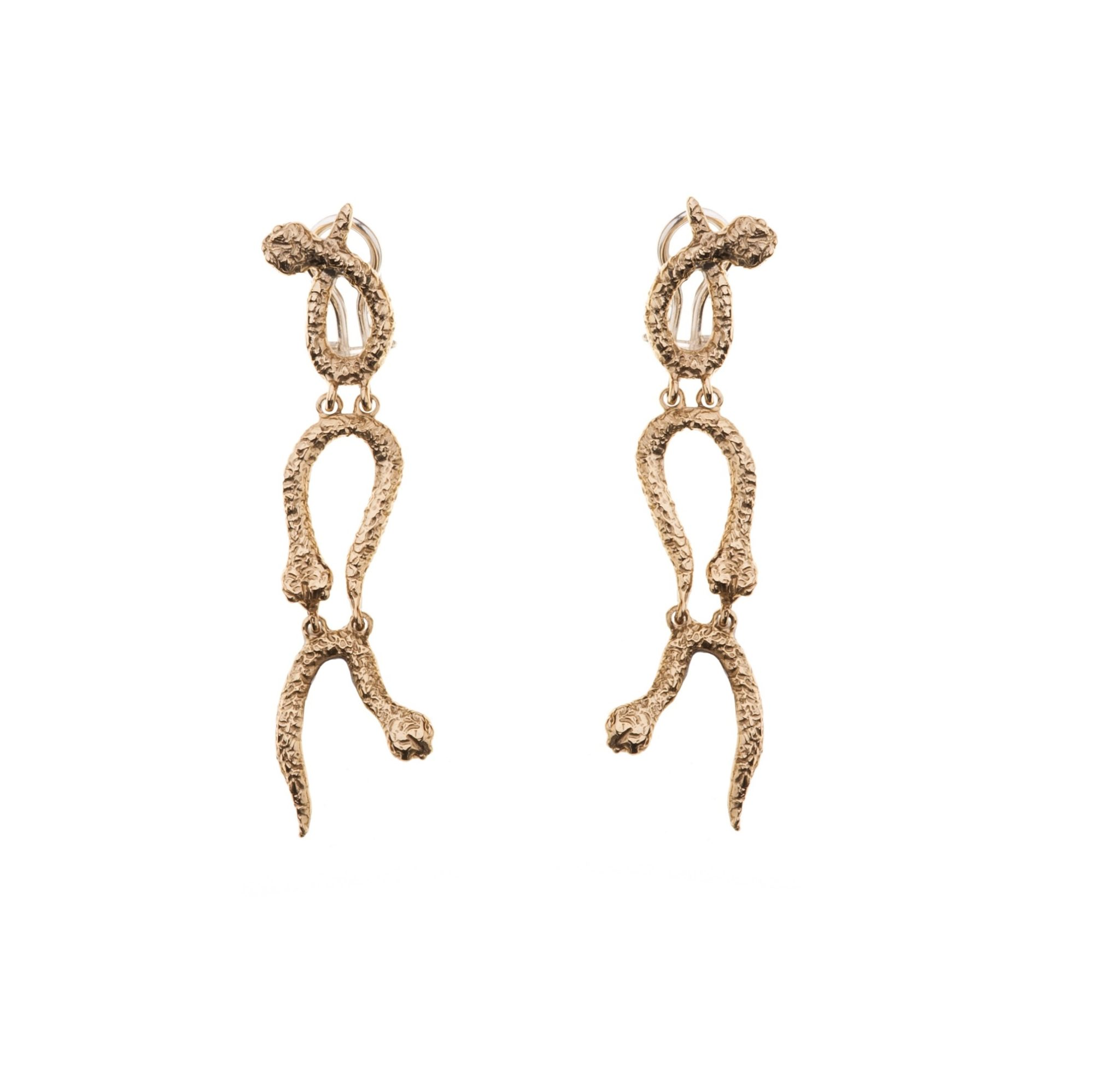3 curved snaked bronze earrings