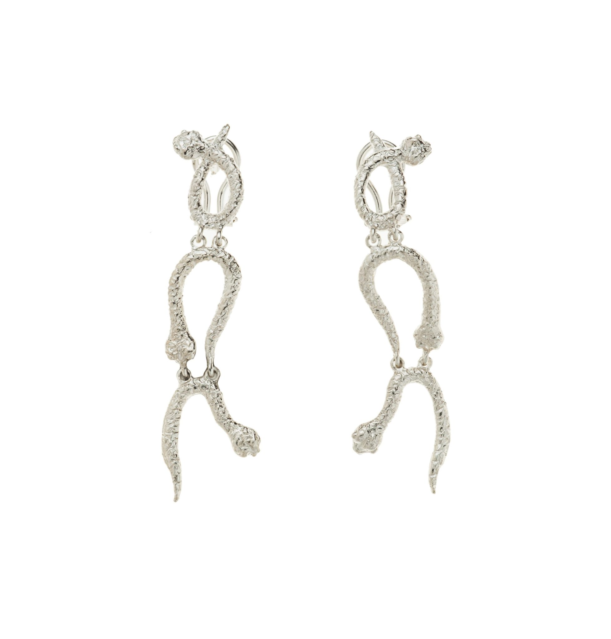 3 curved snakes silver earrings