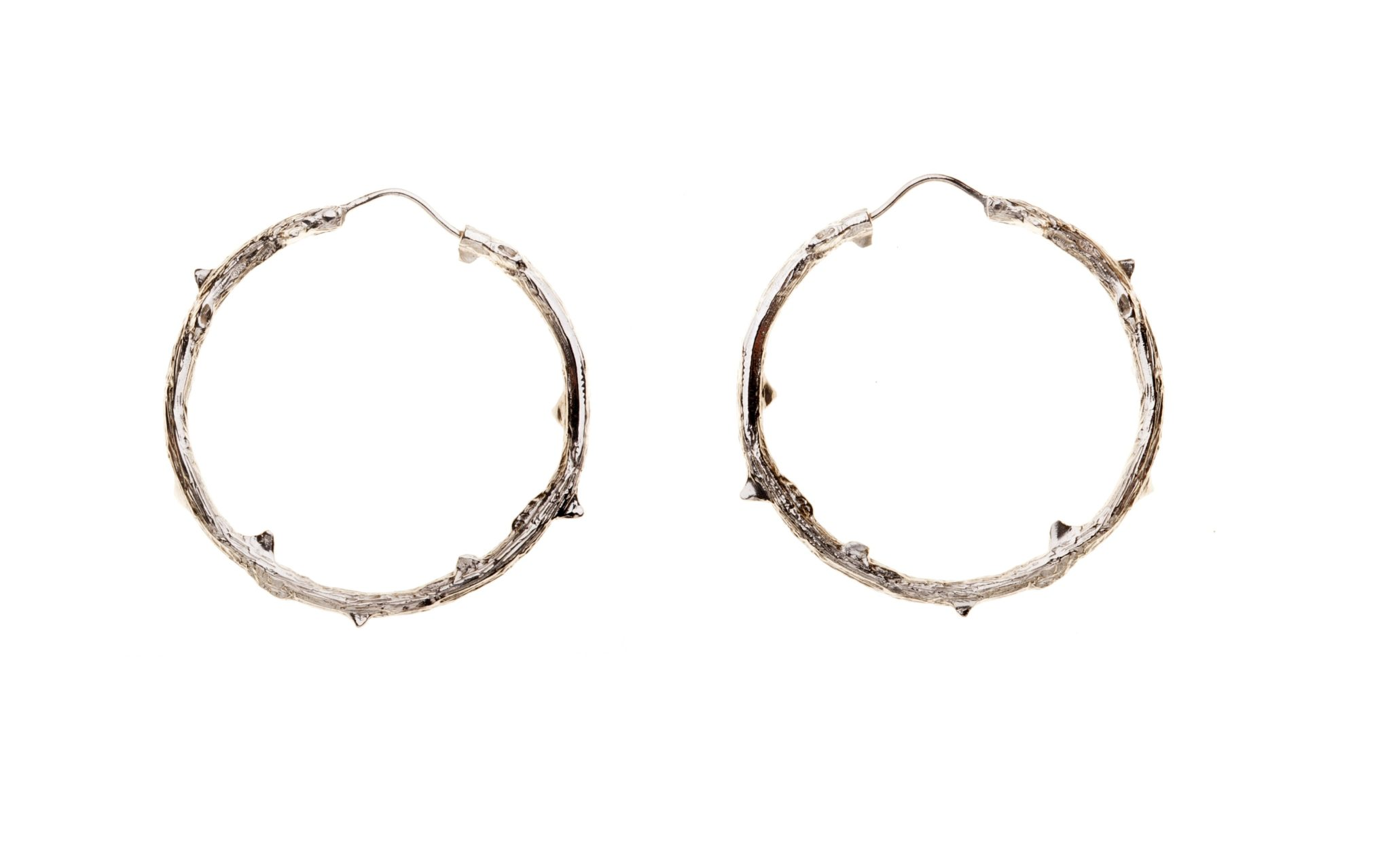 Silver thorny branch hoop earrings
