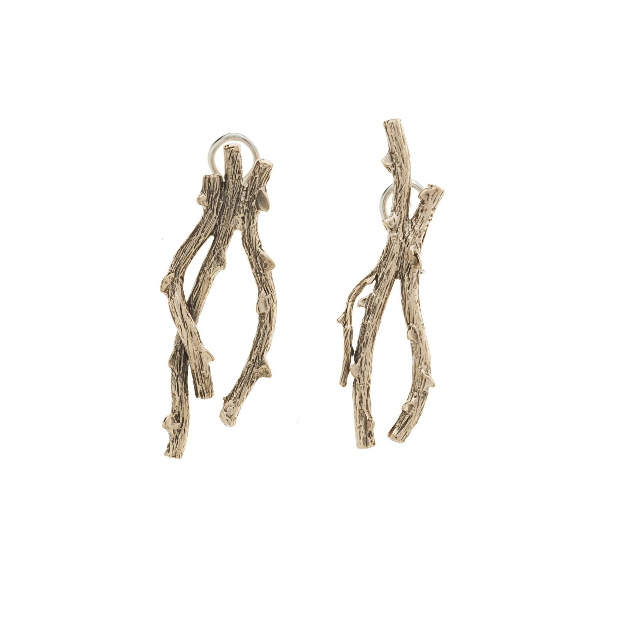 Two thorny branches bronze earrings