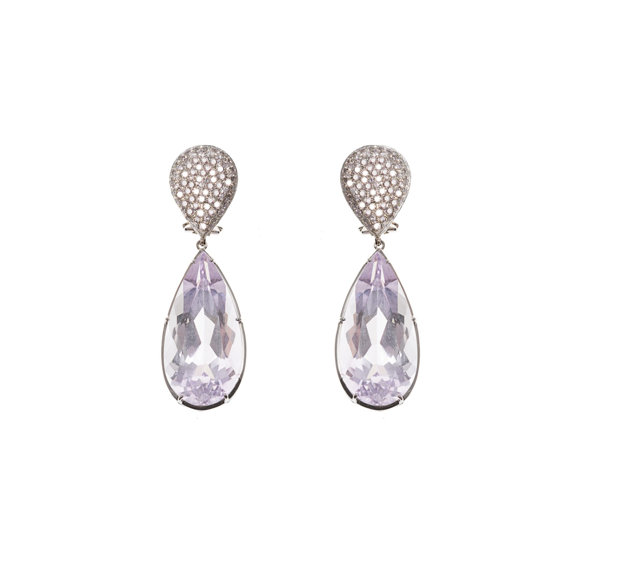 Gold earrings with pavé diamonds and drop pink amethysts