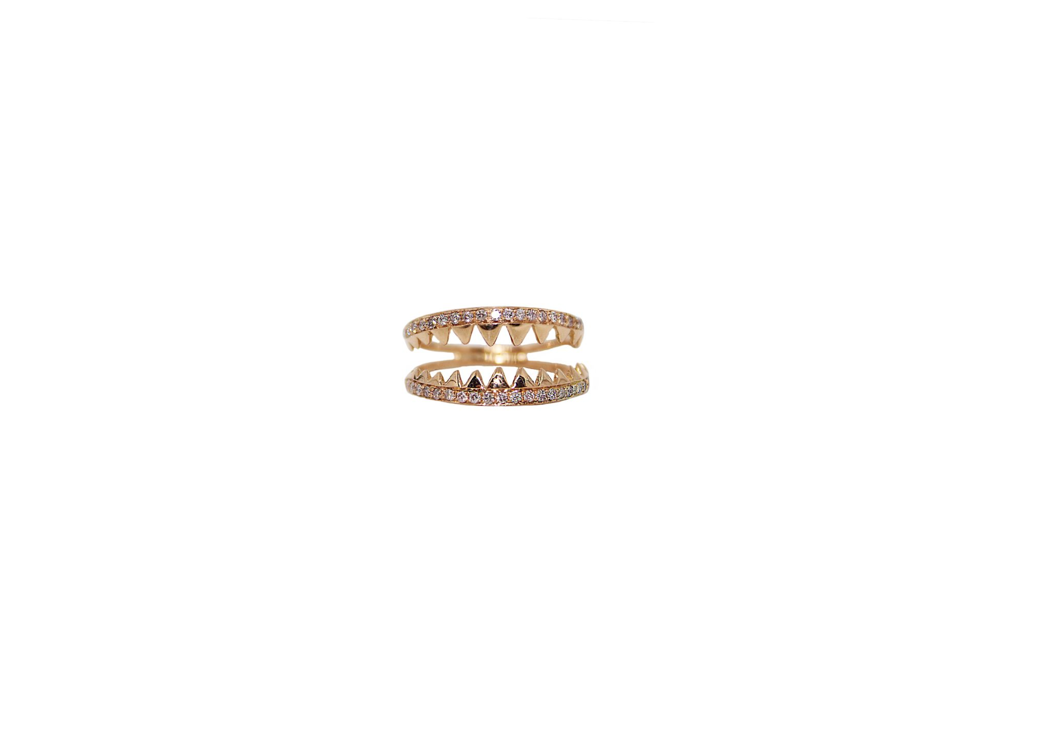 Shark jaws pink gold ring with pavé diamonds