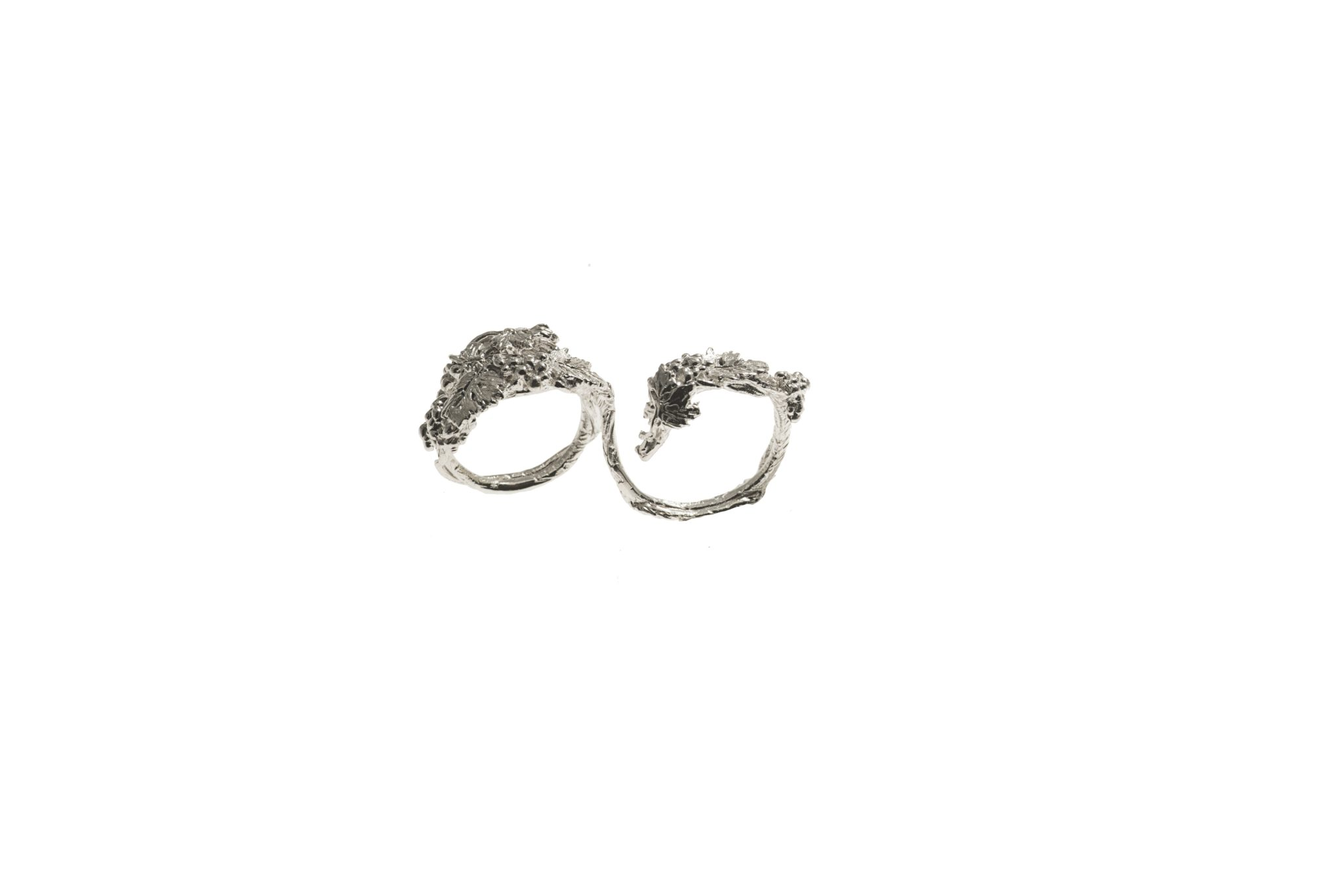 Grapes 2 finger silver ring - large