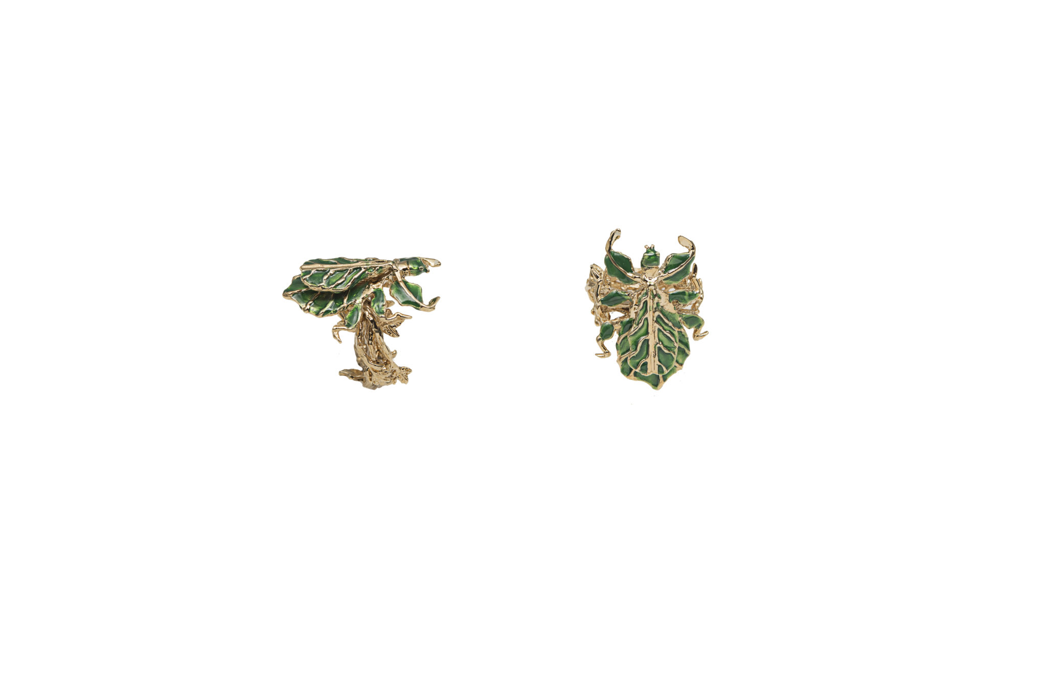 Leaf insect bronze ring with enamel