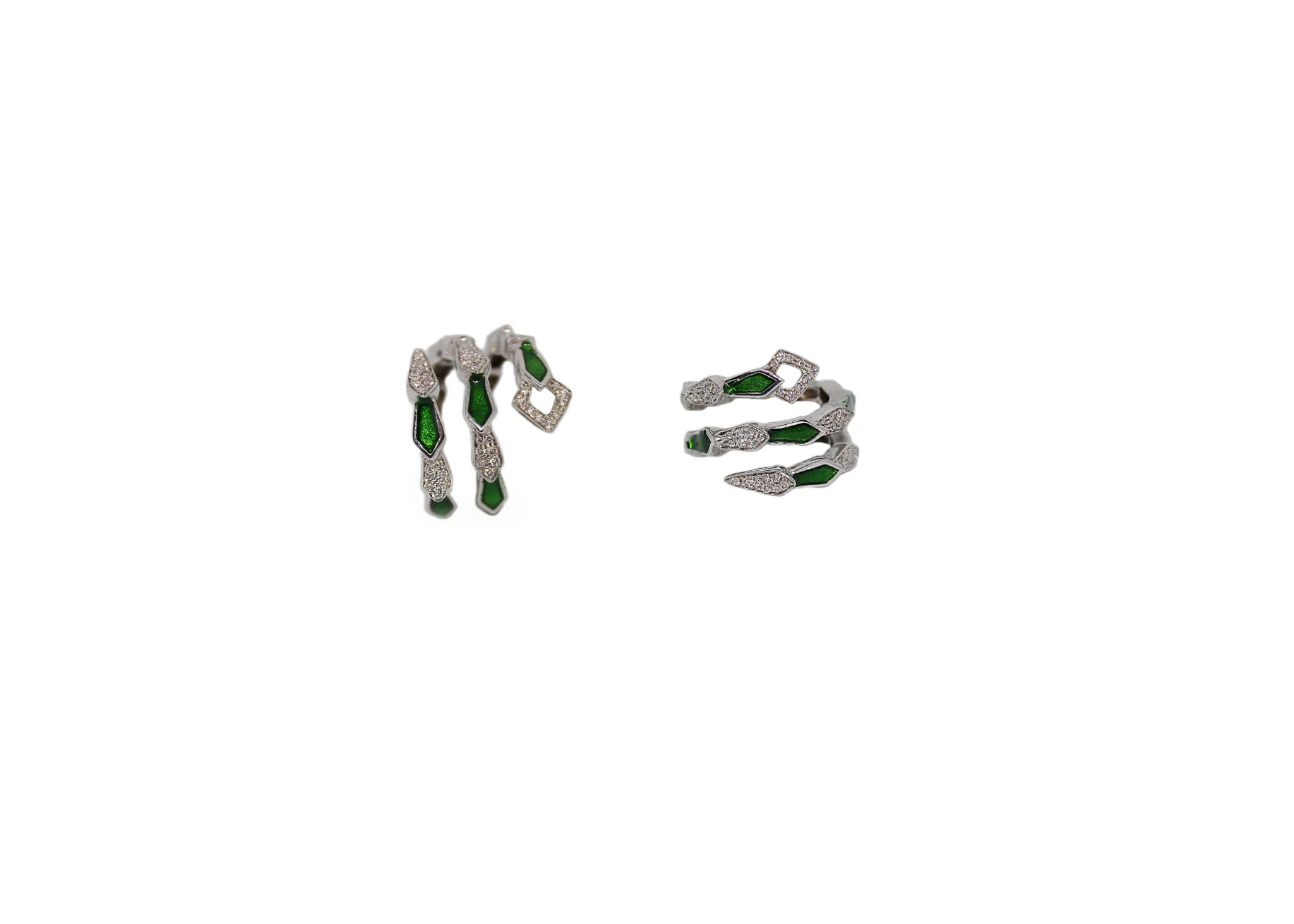 White gold spiral snake ring with pavé diamonds and green enamel