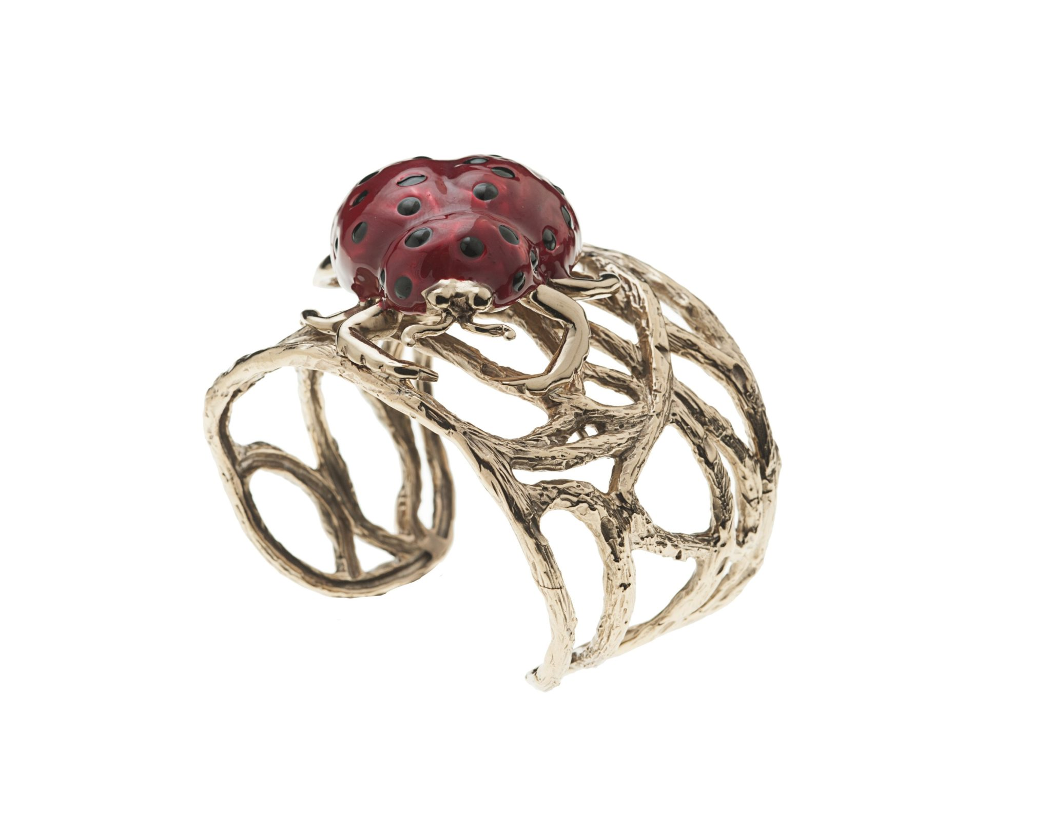 Bronze branches cuff bracelet with enamelled ladybird