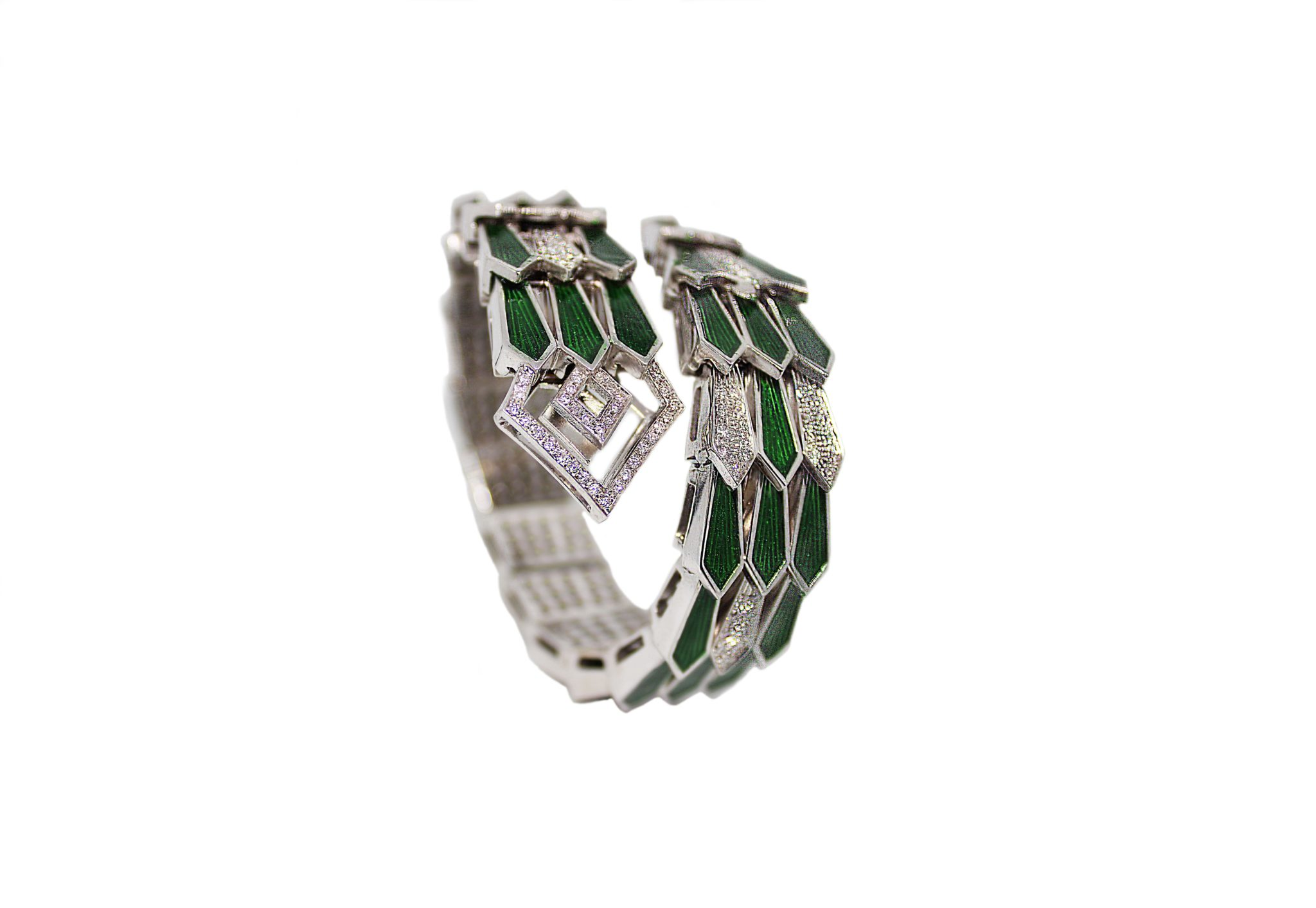 White gold spiral triple snake bracelet with diamonds and green enamel