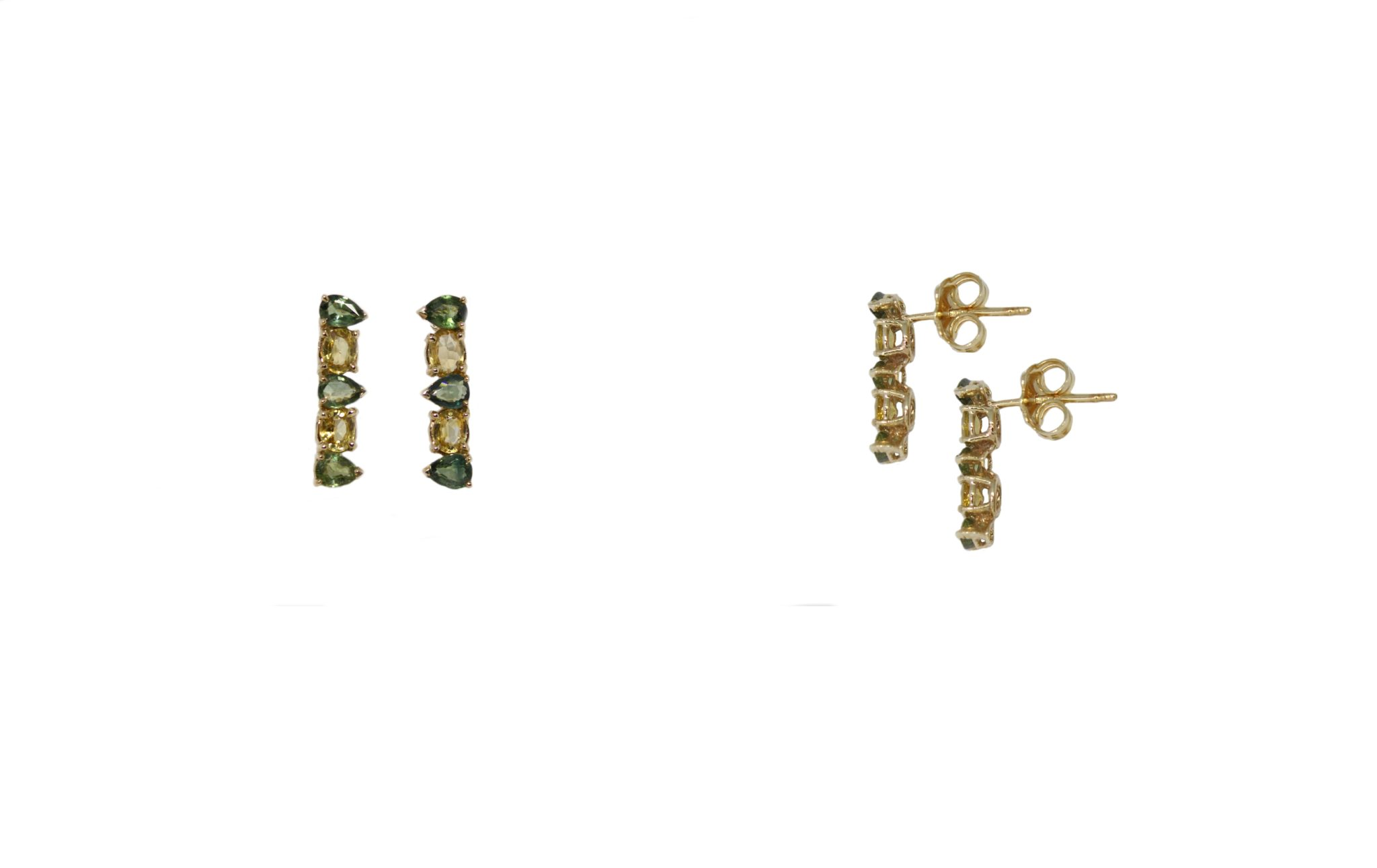 Gold earrings with green and yellow sapphires