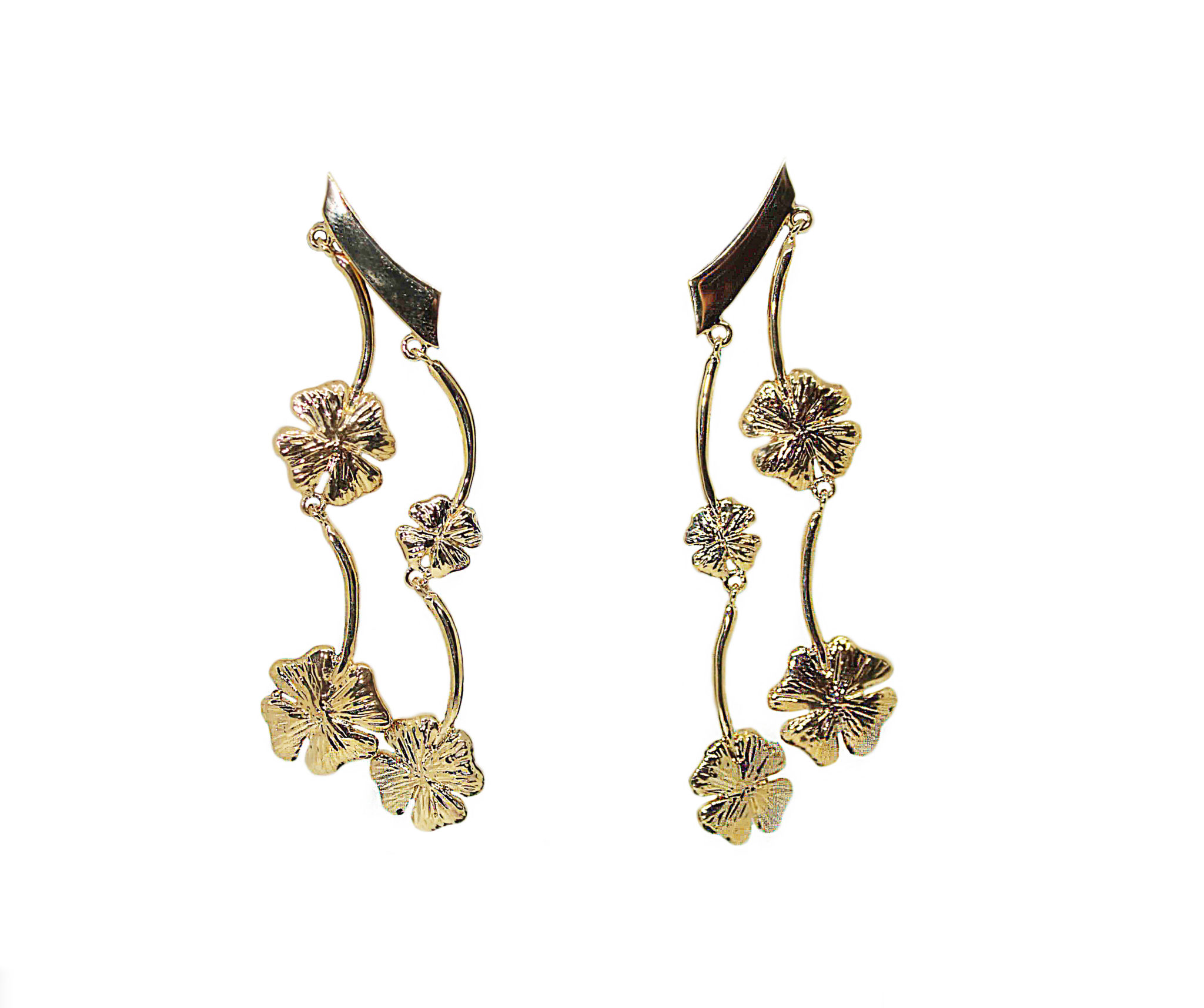 Bronze earrings with 4 four-leaf clovers