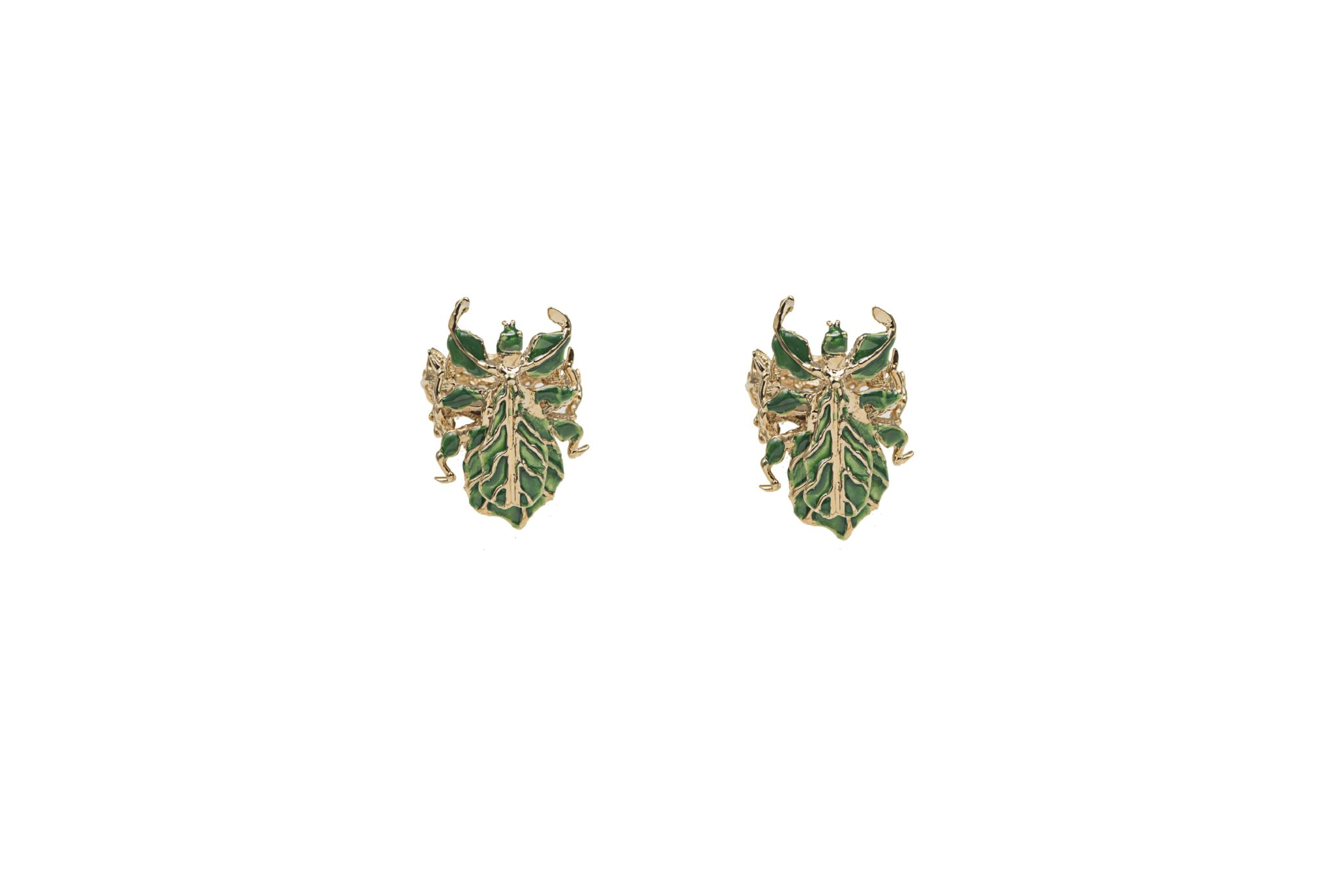 Leaf insect bronze earrings with enamel