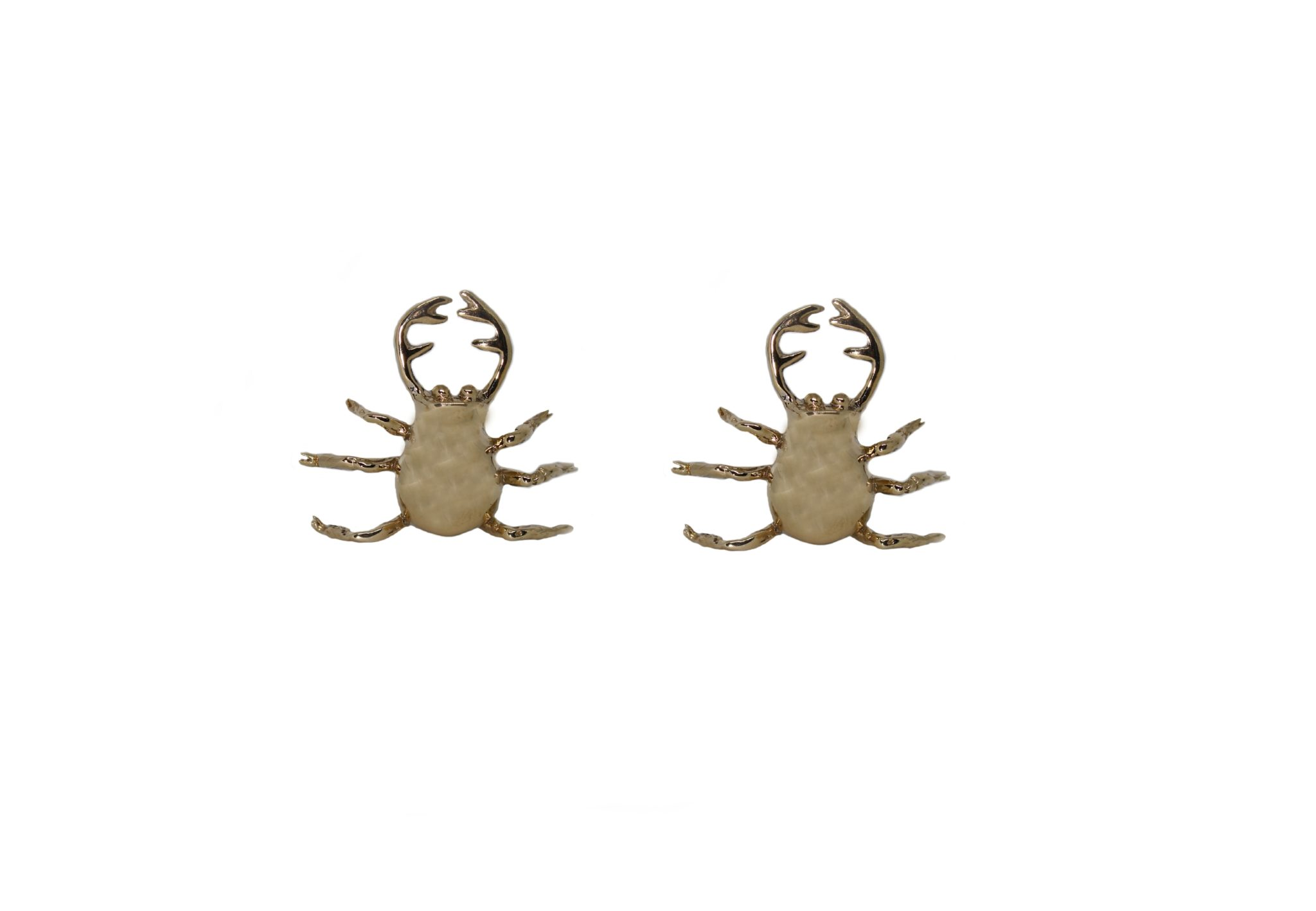 Stag beetle bronze earrings