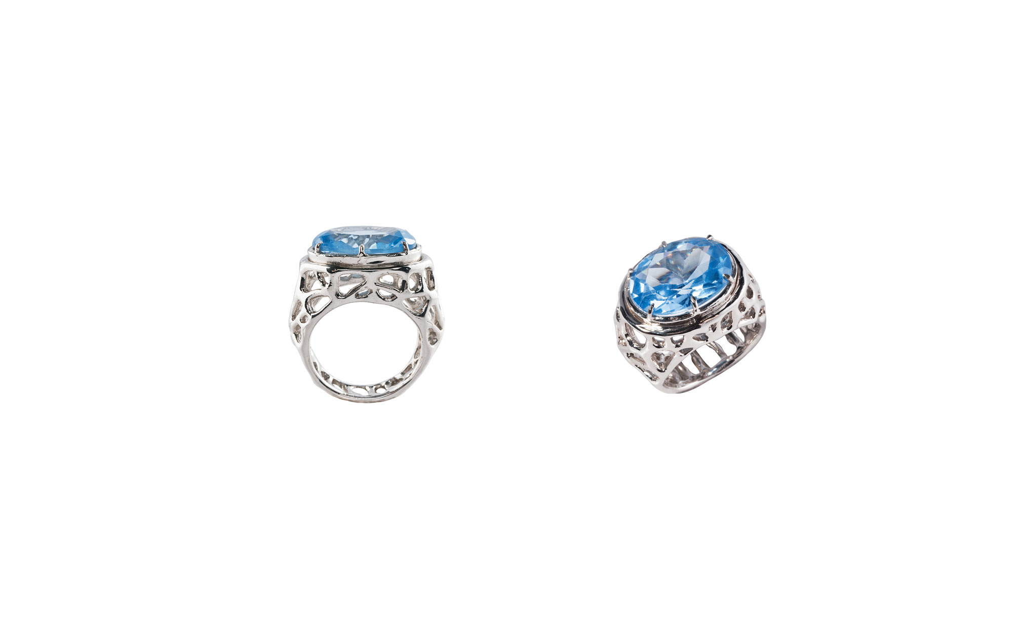 Silver dome web ring with light blue zircon