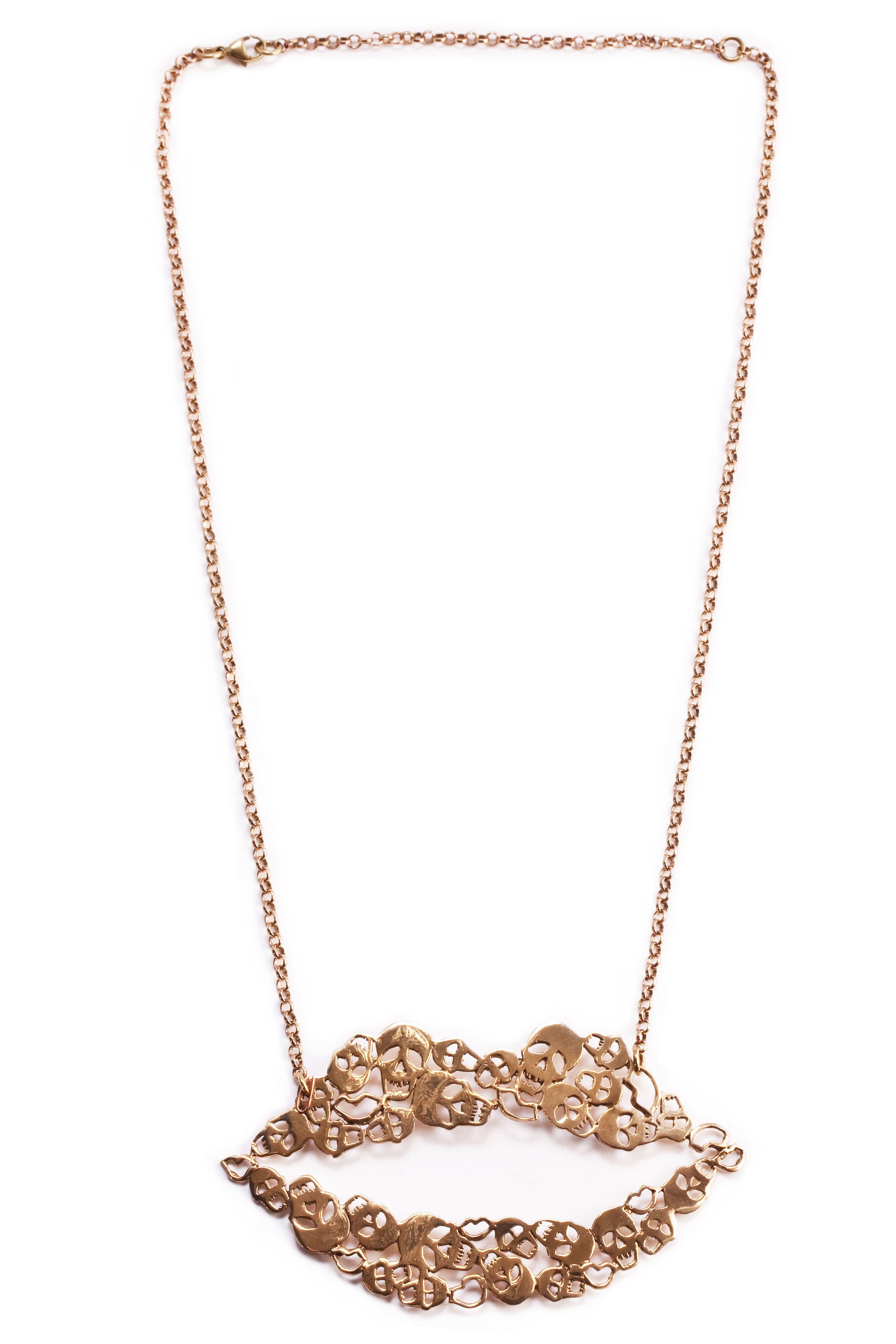 Bronze mouth necklace with skulls