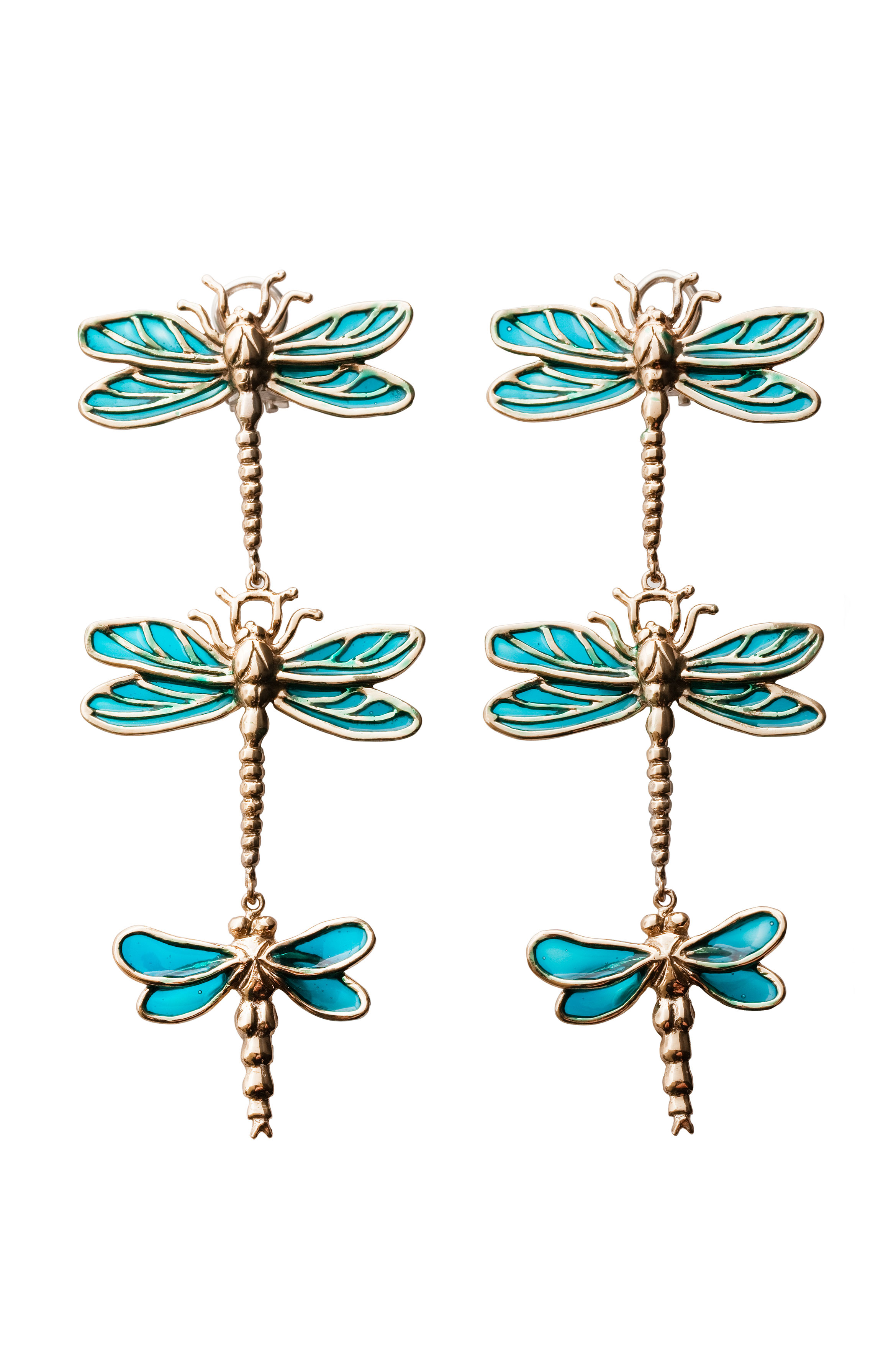 3 big dragonflies bronze earrings with enamel
