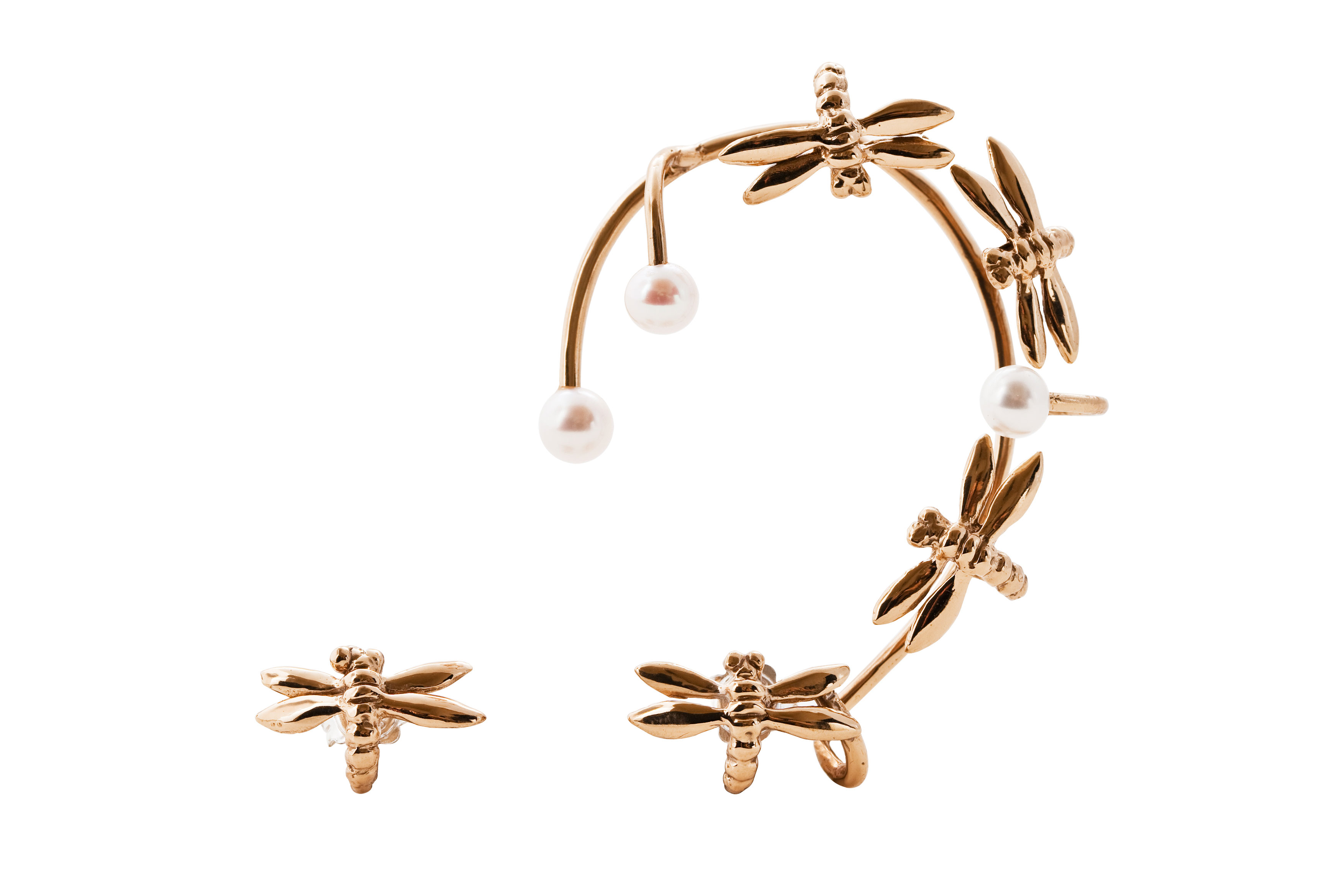 Dragonfly bronze earcuff with pearls