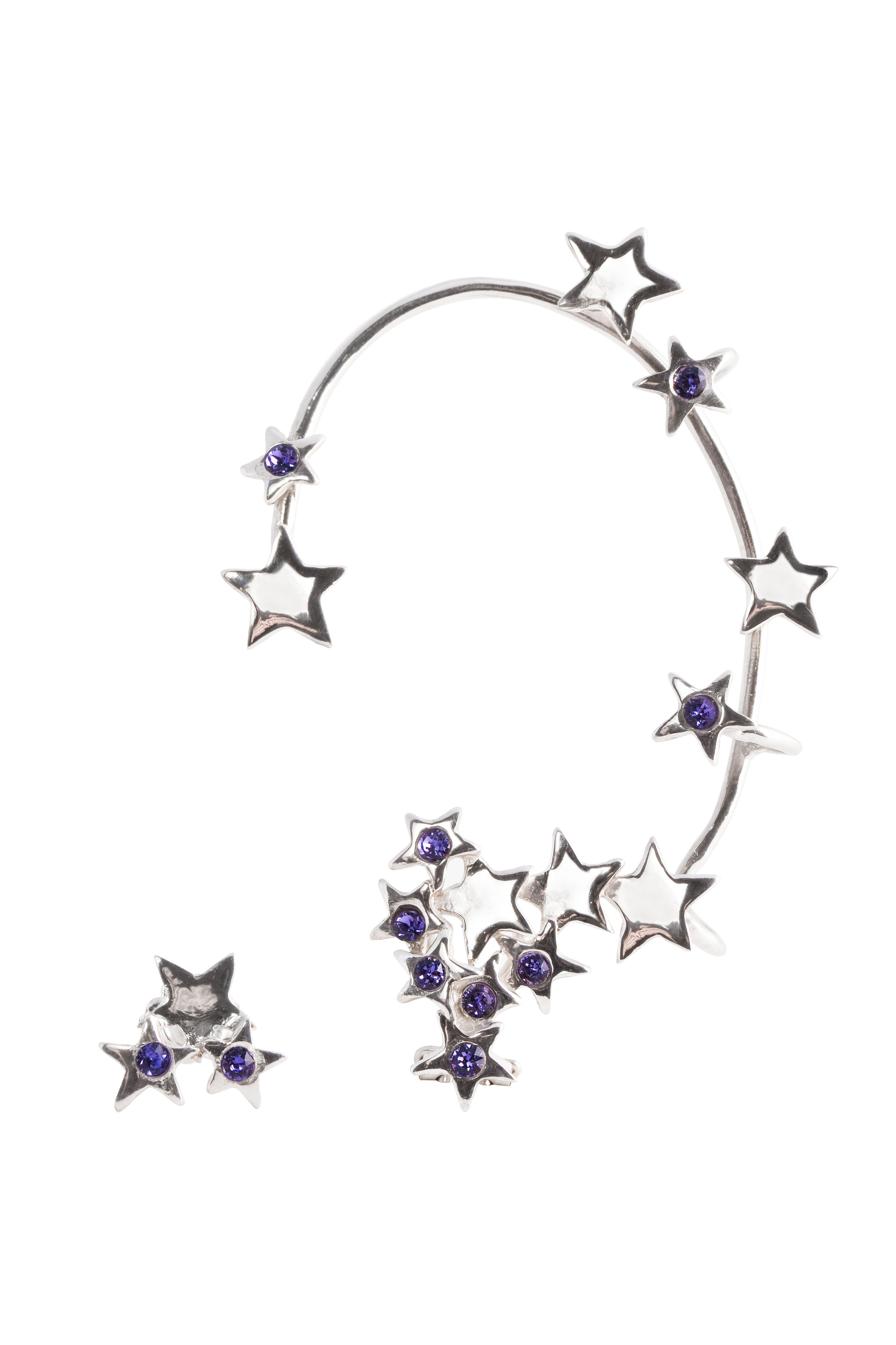 Multi stars earcuff with violet  Swarovsky crystals
