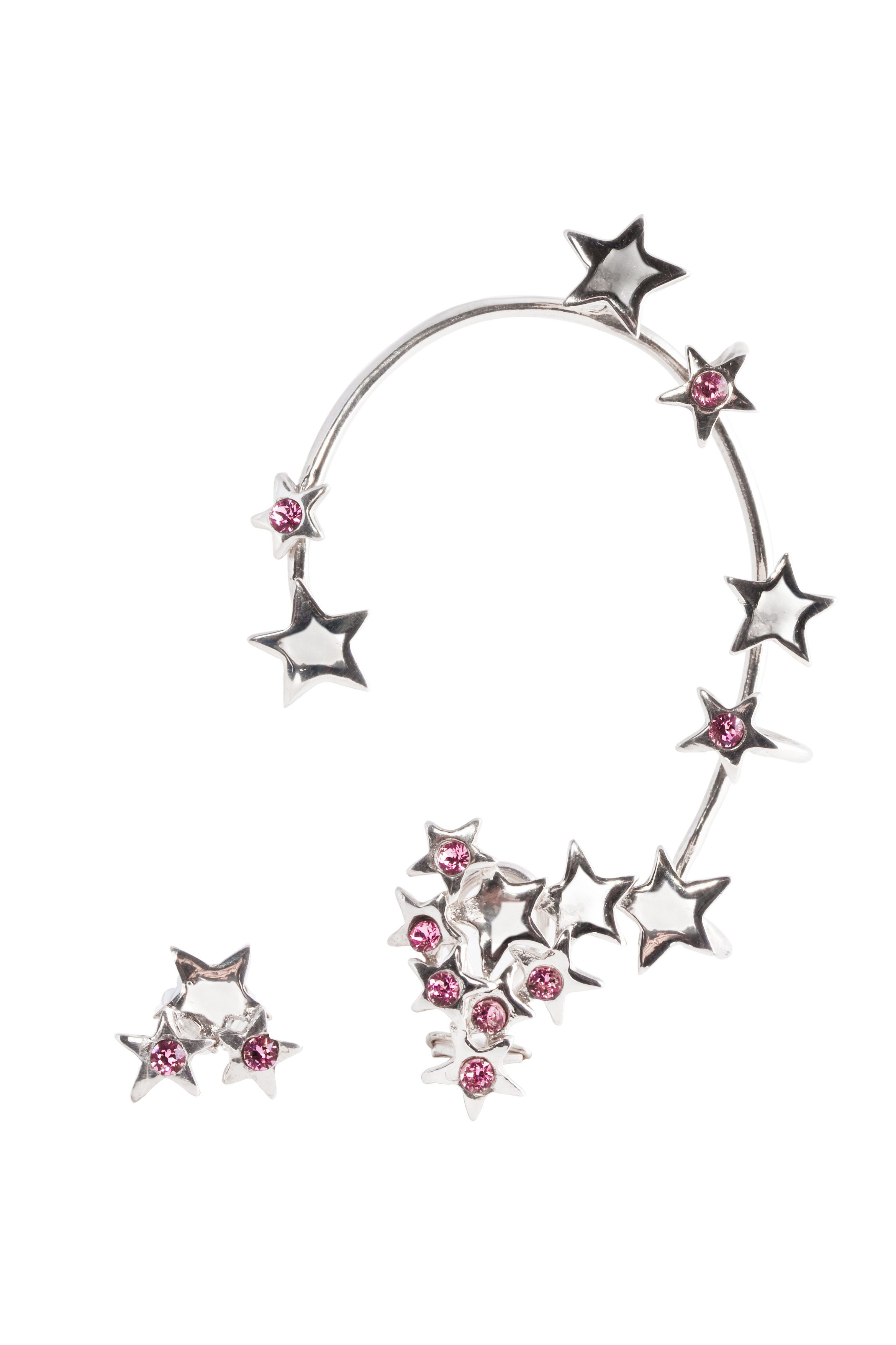 Multi stars earcuff with pink  Swarovsky crystals