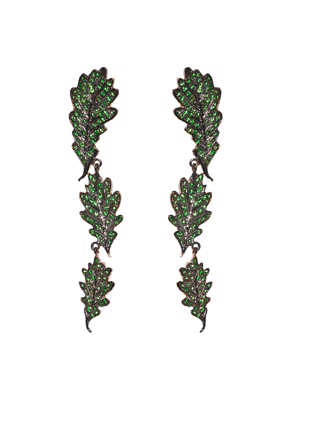Oak leaves long gold earrings with tsavorites