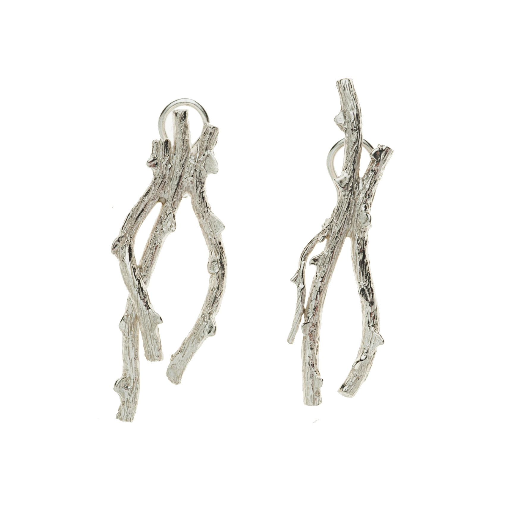 Two thorny branches silver earrings
