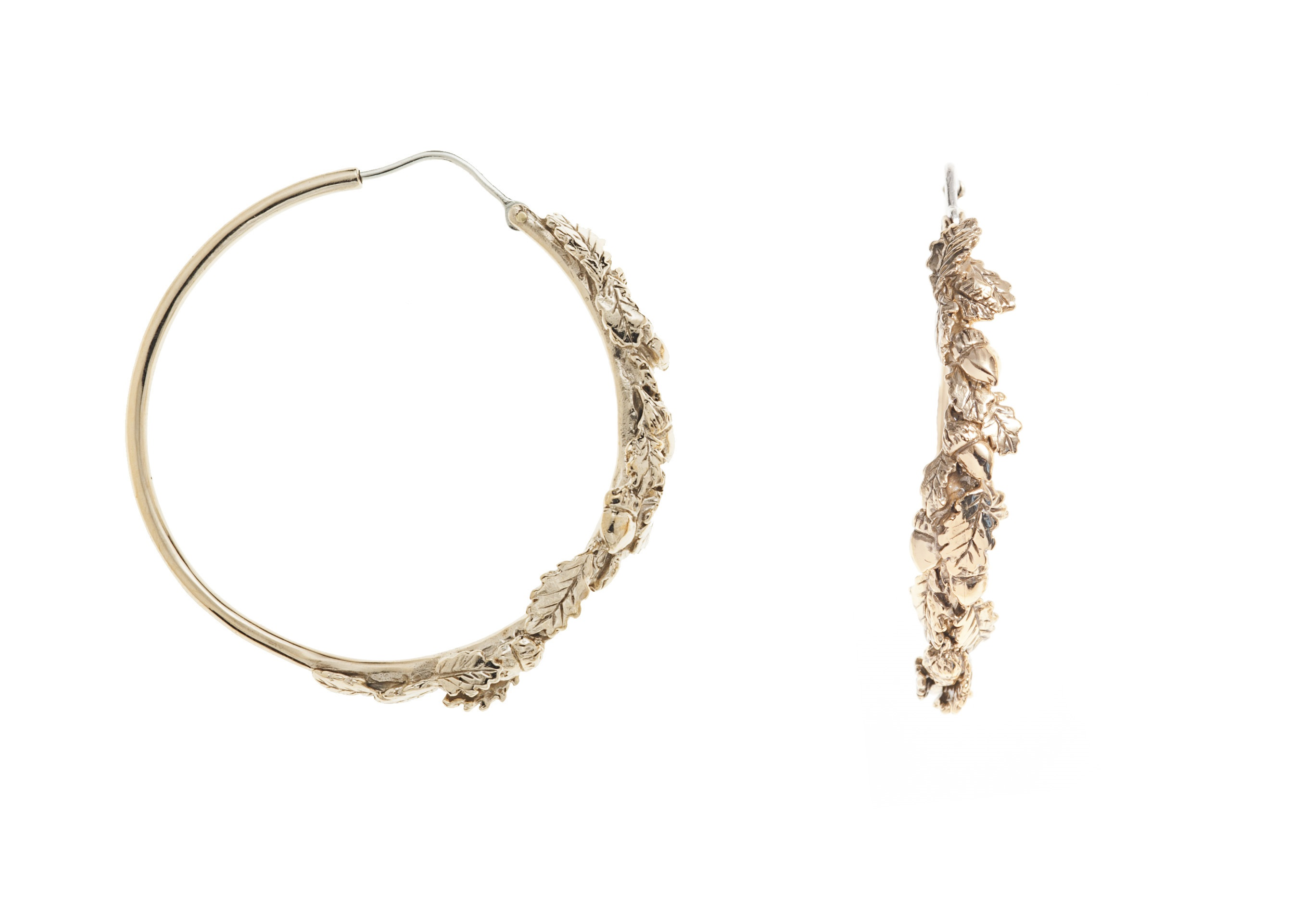 Oak leaves bronze hoop earrings
