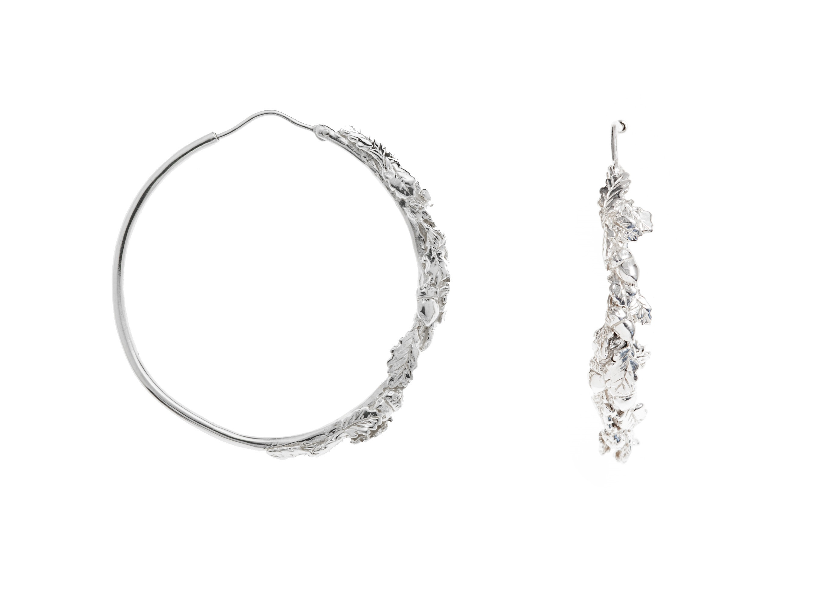 Oak leaves silver hoop earrings