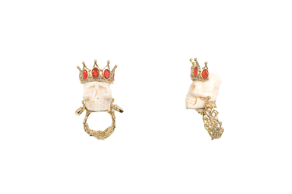 White coral skull ring with opals crown SAINT LOUIS