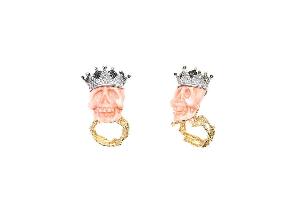 Pink coral skull ring with crown CAROLUS MAGNUS