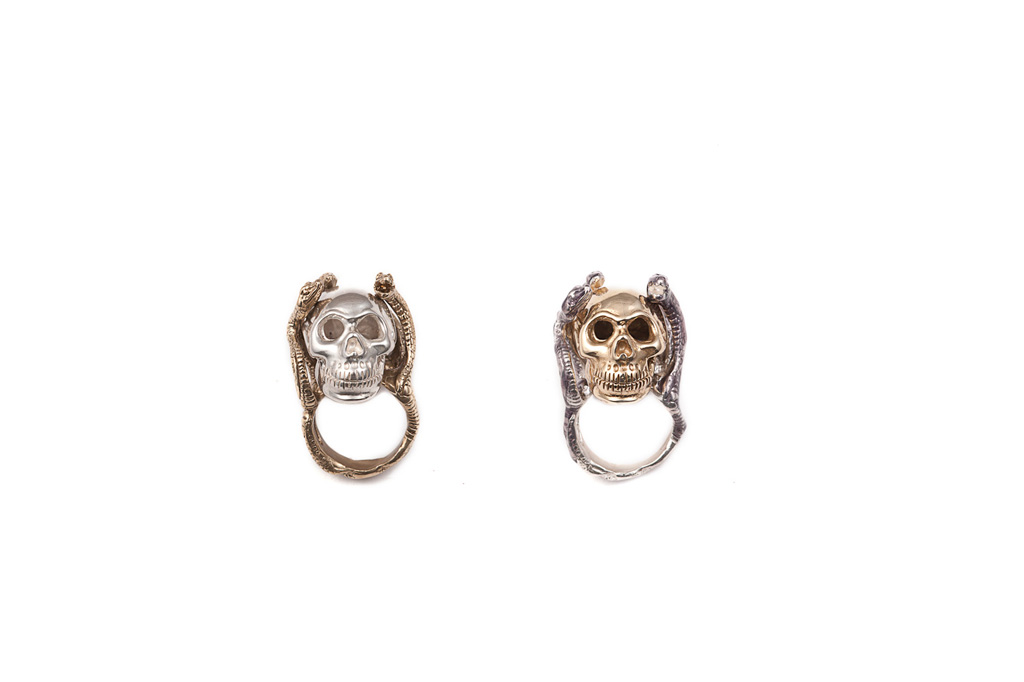 Four snakes ring with  skull