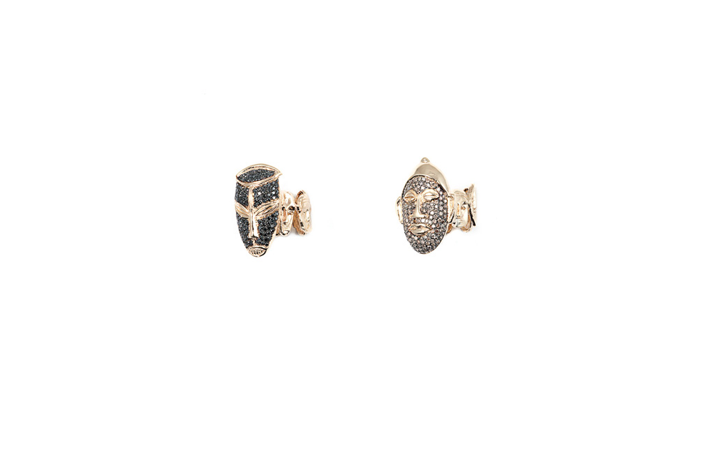 African mask ring with cognac diamonds / African mask ring with black diamonds