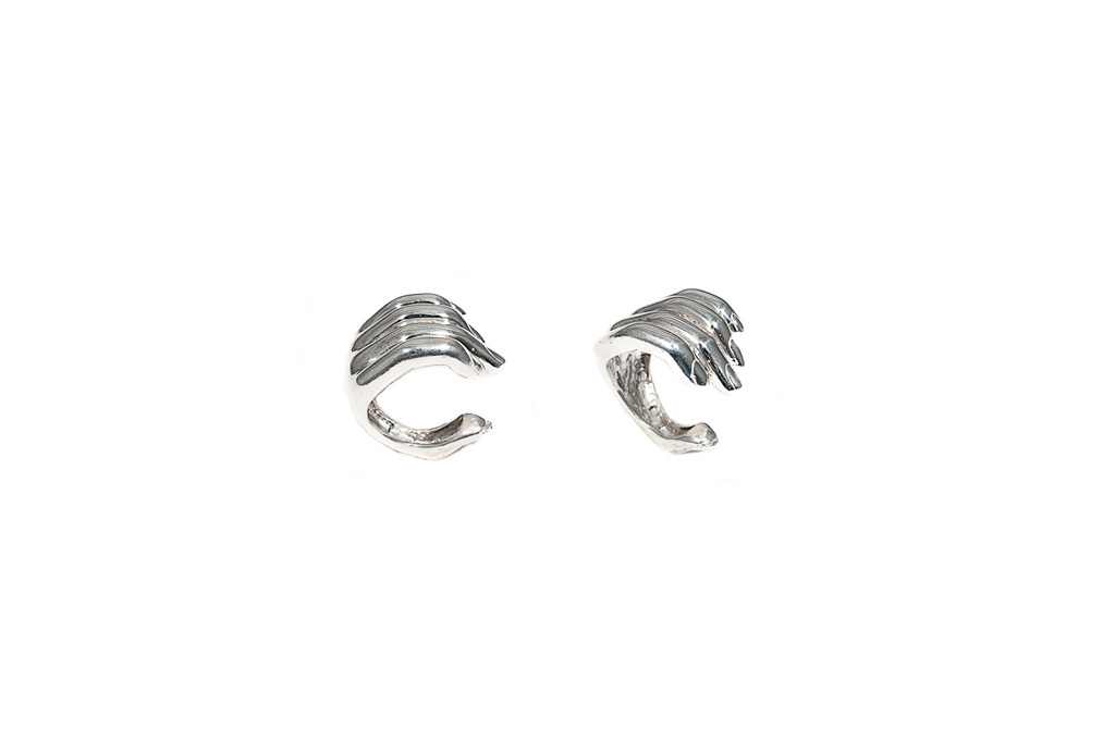 Open silver hand ring