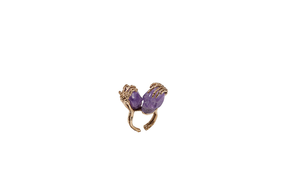 Amethyst two skulls ring