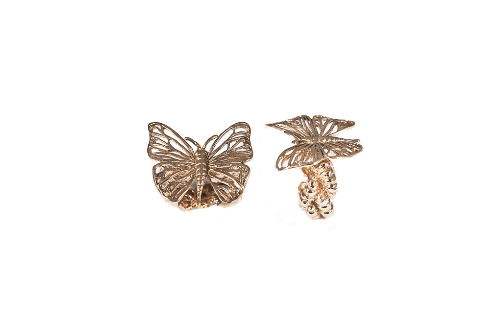 Butterfly openwork ring
