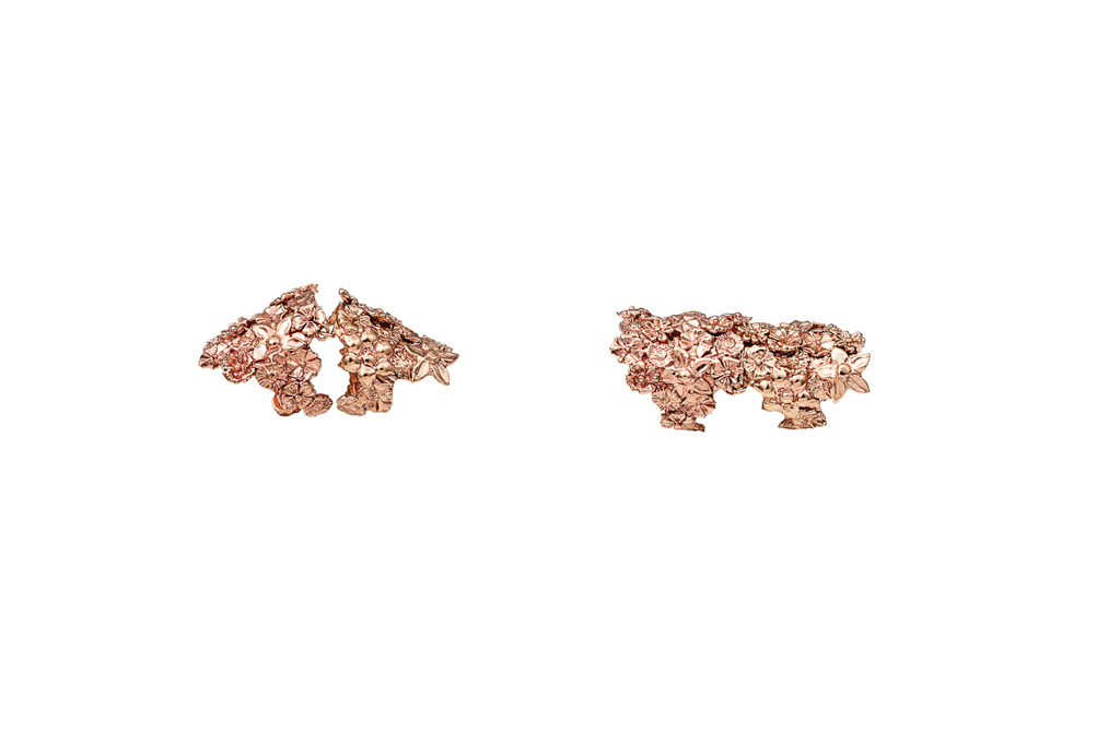 Pink bronze articultated flowers ring