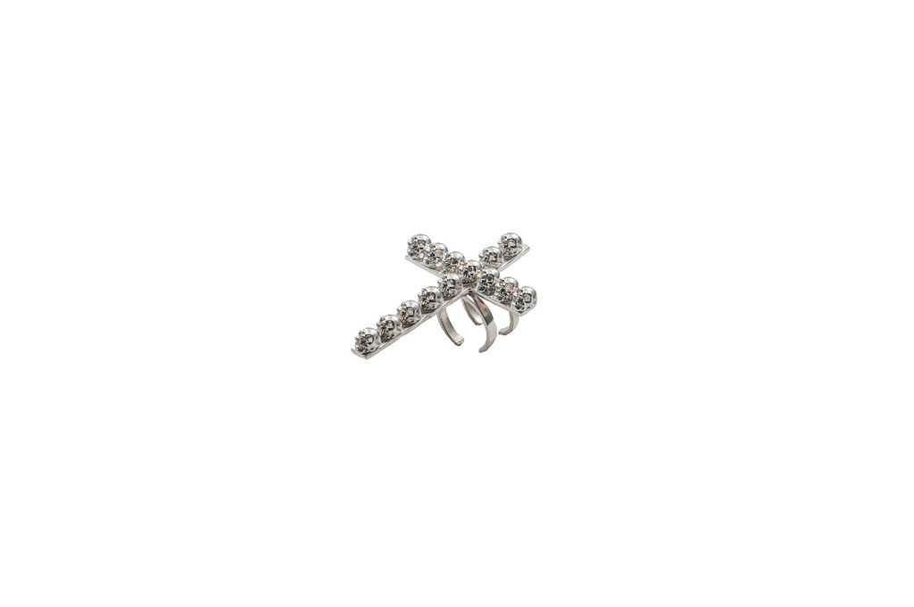 Silver big cross ring with skulls