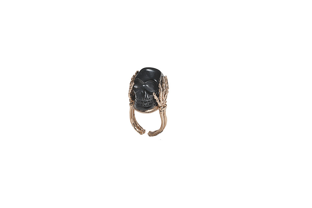 Skeleton hands ring with onyx - woman