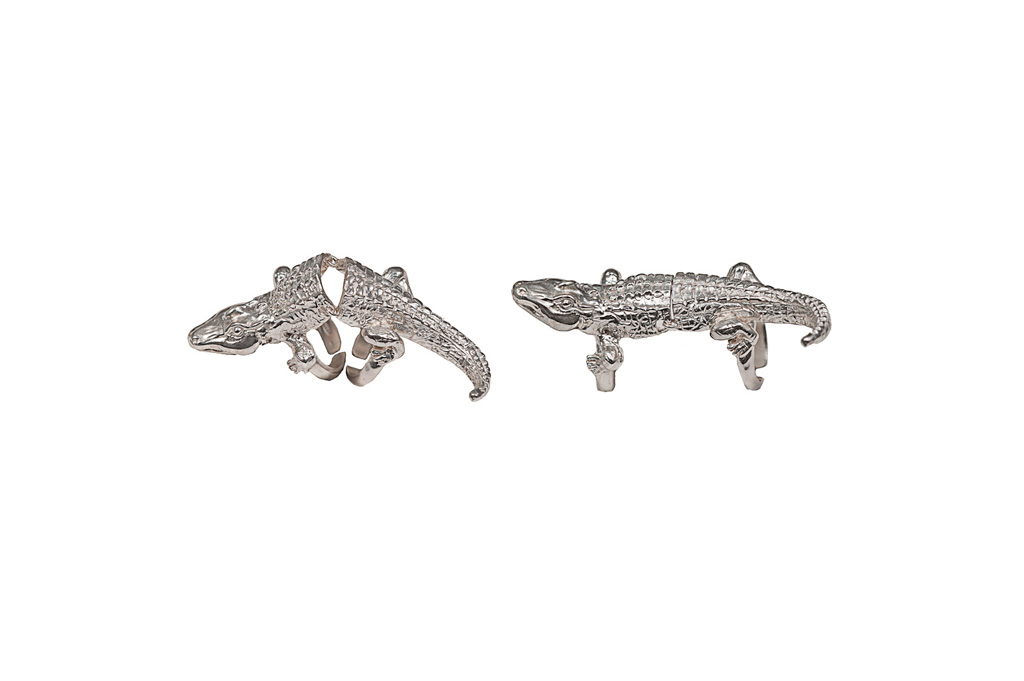 Silver articulated crocodile ring