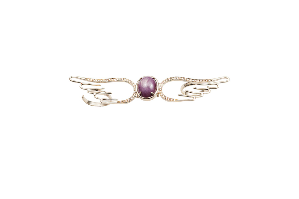Gold double finger flying wings ring with star ruby