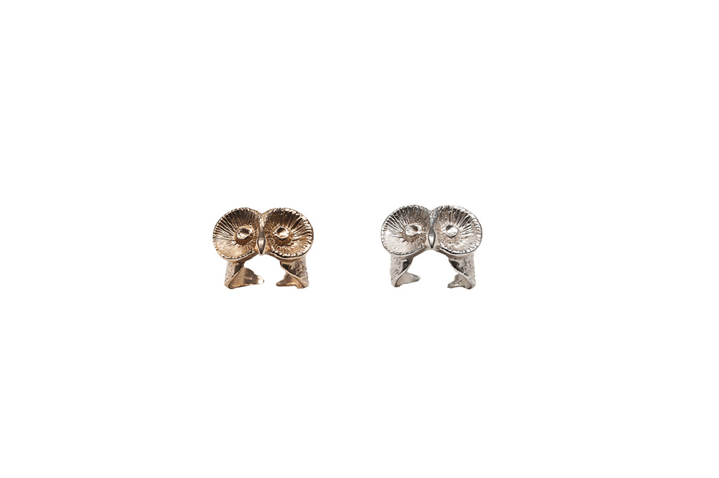Silver little owl ring