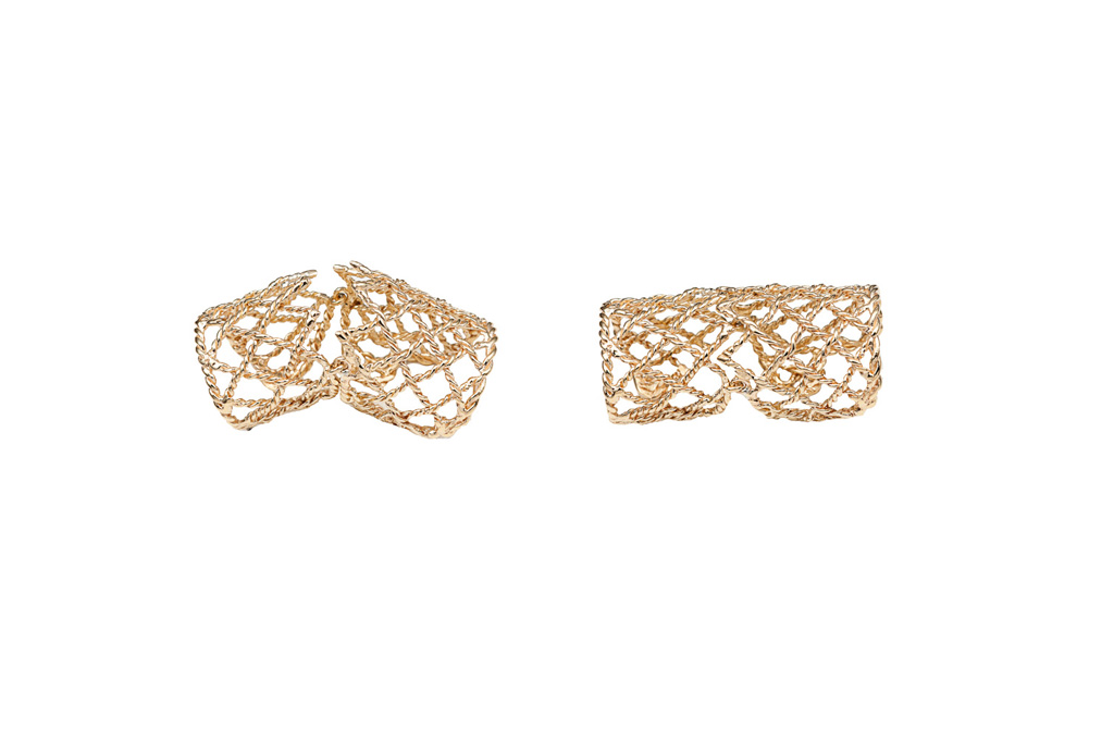 Bronze basket weave articulated ring