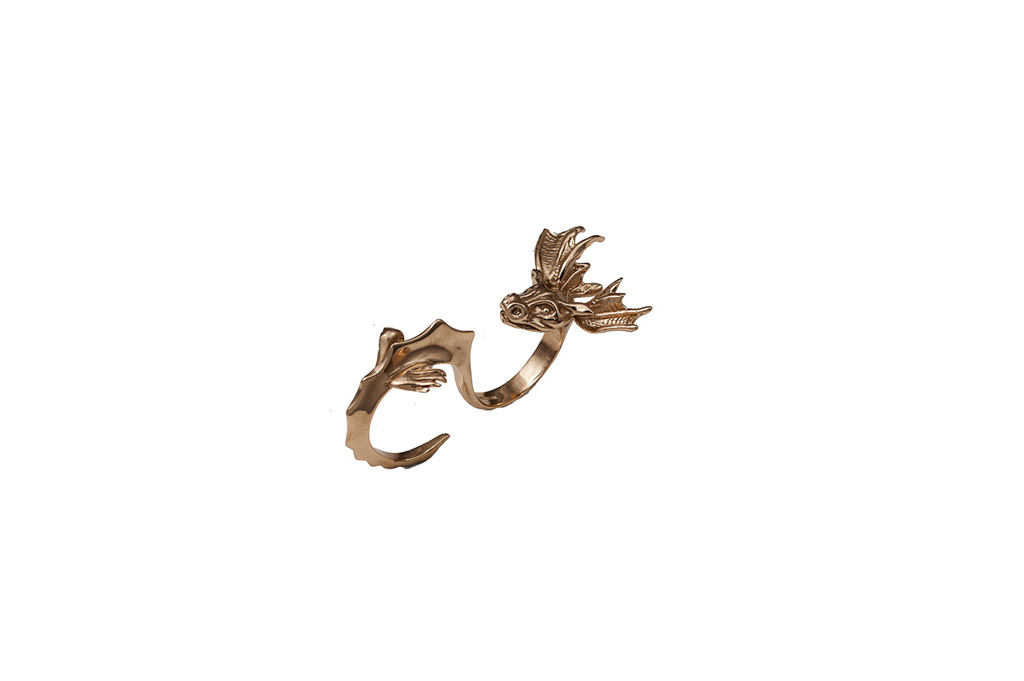 Bronze 2 fingers dragon ring
